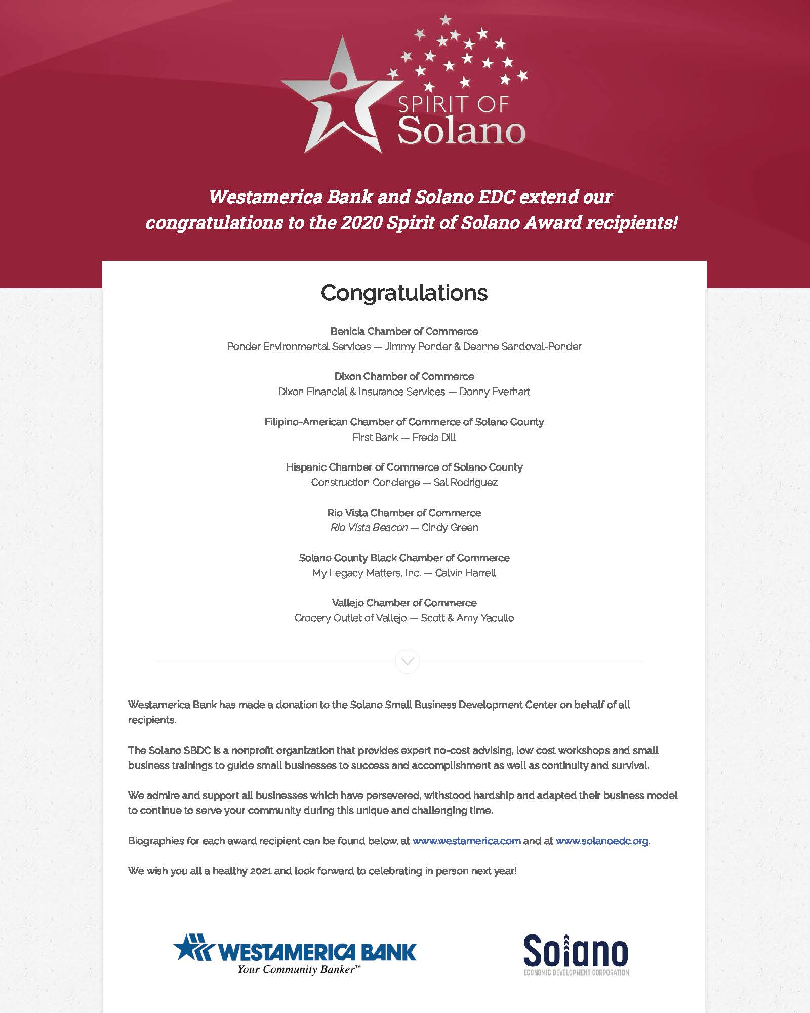 2020 Spirit of Solano Recipients blog featured image