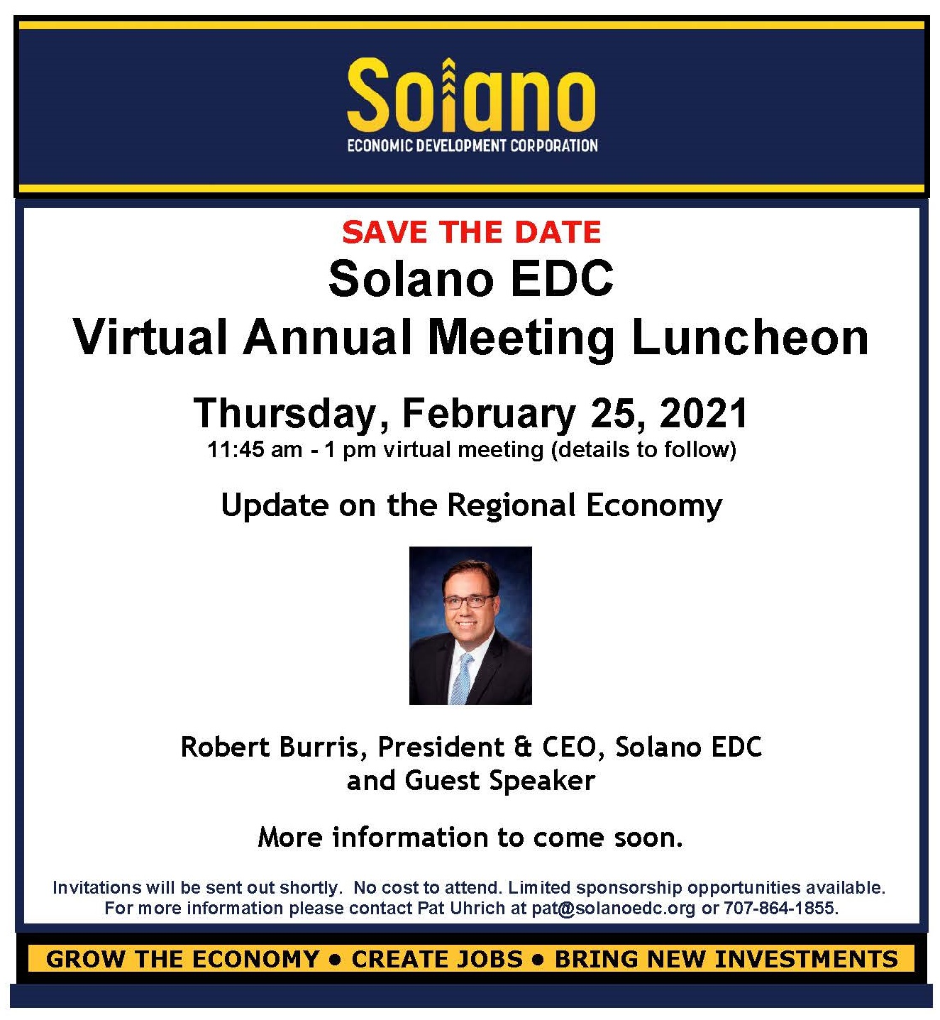 Save the Date Solano EDC February 25 Virtual Annual Meeting blog featured image